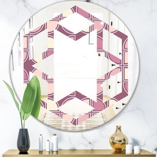 Designart 'Retro Purple Pink Desing' Modern Round or Oval Wall Mirror - Hexagon Star