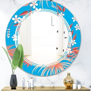Designart 'Tropical Retro Foliage Coral II' Cottage Round or Oval Wall Mirror - Triple C