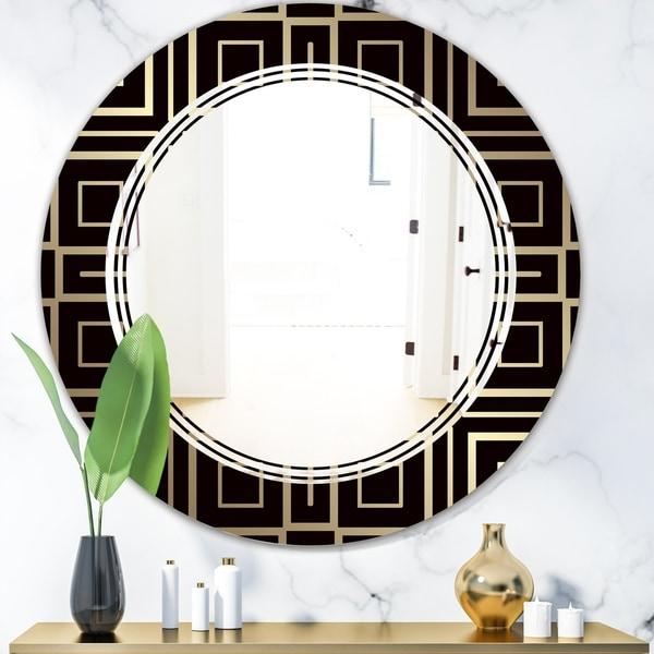 Designart 'Golden Luxury Metallic Geometrics XII' Modern Round or Oval Wall Mirror - Triple C