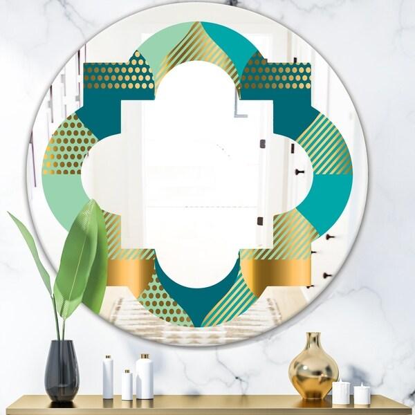 Designart 'Luxury Retro Drops II' Modern Round or Oval Wall Mirror - Quatrefoil