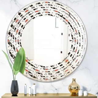 Designart 'Abstract Design Retro Pattern IV' Modern Round or Oval Wall Mirror - Wave