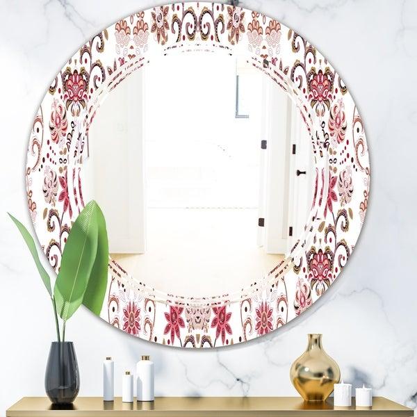 Designart 'Ornamental Retro Pattern' Modern Round or Oval Wall Mirror - Triple C