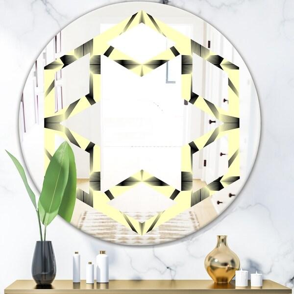 Designart 'Oriental Ornament. Flower Pattern' Modern Round or Oval Wall Mirror - Hexagon Star
