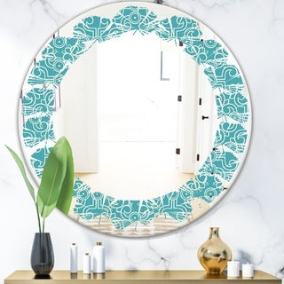 Designart 'Retro Abstract Pattern Design III' Modern Round or Oval Wall Mirror - Leaves