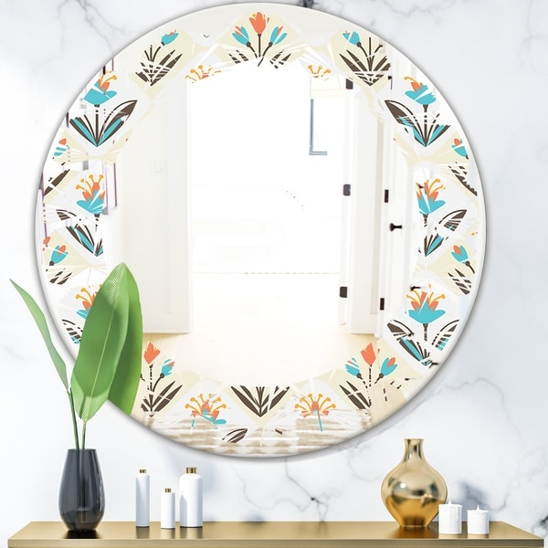 Designart 'Pattern with floral ornament' Cottage Round or Oval Wall Mirror - Leaves