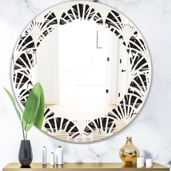 Designart 'Retro Art Deco Waves I' Modern Round or Oval Wall Mirror - Leaves