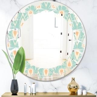 Designart 'Retro Ornamental Design VIII' Modern Round or Oval Wall Mirror - Leaves