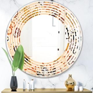 Designart 'Retro Indian Floral Batik III' Modern Round or Oval Wall Mirror - Wave