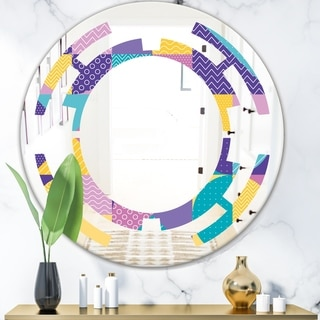 Designart 'Geometrical Pastel Abstract I' Modern Round or Oval Wall Mirror - Space