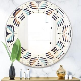 Designart 'Geometric Retro Design V' Modern Round or Oval Wall Mirror - Wave
