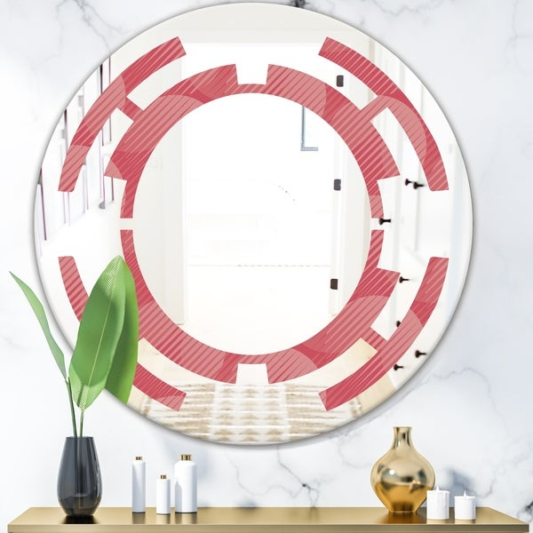 Designart 'Coral Round Geometrical' Modern Round or Oval Wall Mirror - Space
