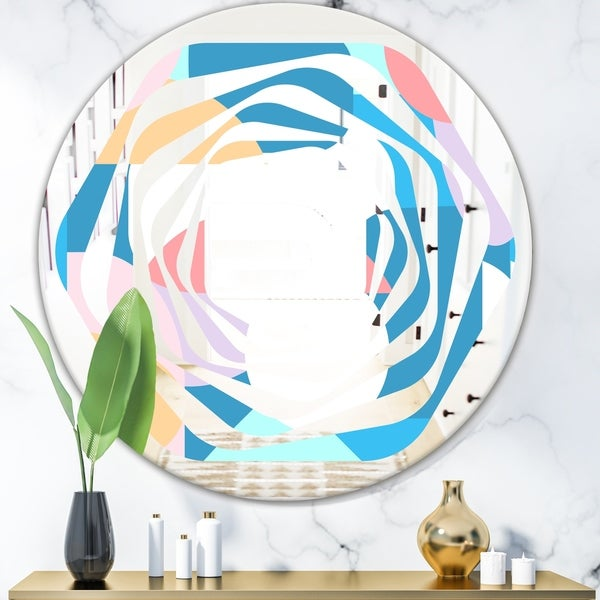 Designart 'Retro Geometrical Abstract Pattern II' Modern Round or Oval Wall Mirror - Whirl