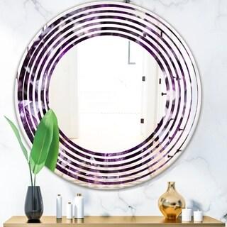 Designart 'Amethyst geode' Modern Round or Oval Wall Mirror - Wave