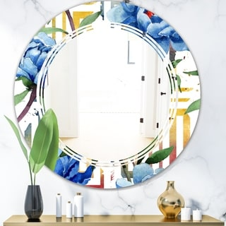 Designart 'Retro Floral Botanical Design I' Modern Round or Oval Wall Mirror - Triple C