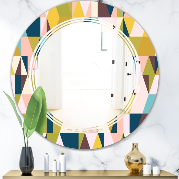 Designart 'Triangular Retro Design I' Modern Round or Oval Wall Mirror - Triple C - Multi