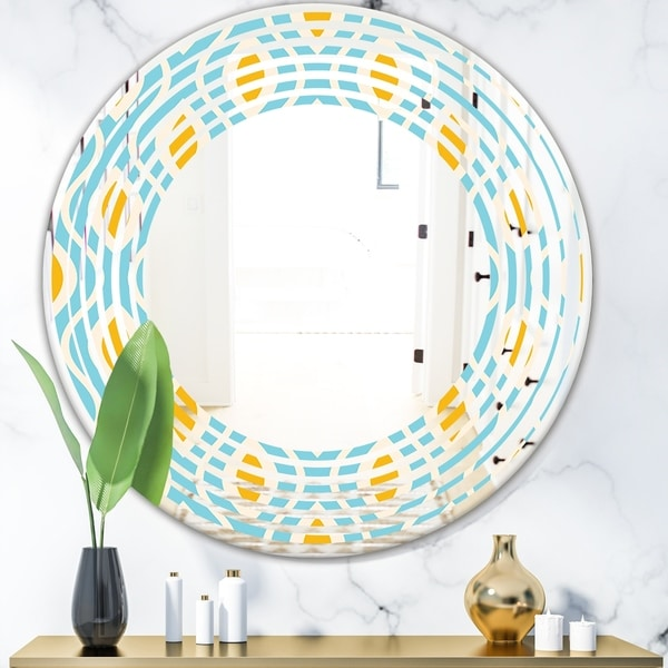 Designart 'Retro Pattern Abstract Design I' Modern Round or Oval Wall Mirror - Wave