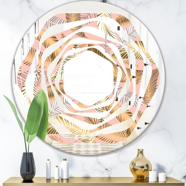 Designart 'Golden Tropical Pattern V' Modern Round or Oval Wall Mirror - Whirl