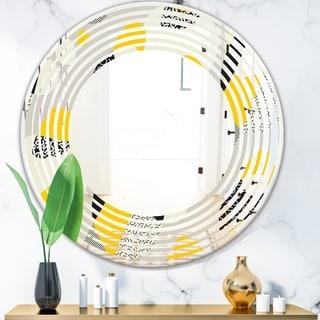 Designart 'Abstract Design Retro Pattern V' Modern Round or Oval Wall Mirror - Wave