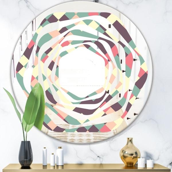 Designart 'Retro Square Design IV' Modern Round or Oval Wall Mirror - Whirl - Multi