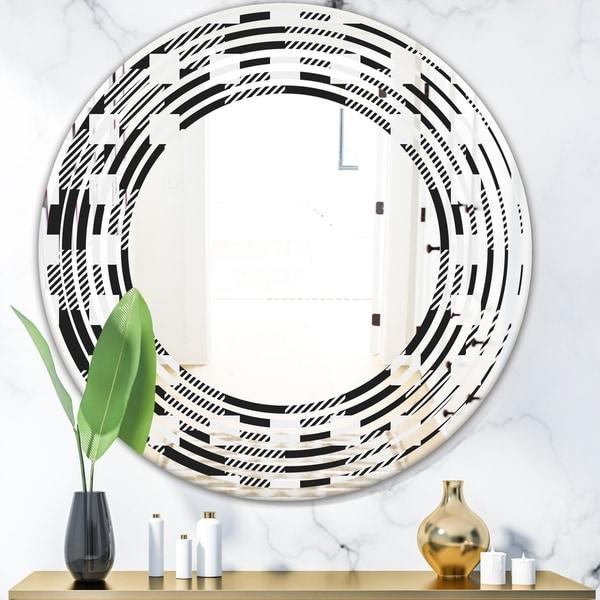 Designart 'Geometric Monochrome Pattern II' Modern Round or Oval Wall Mirror - Wave