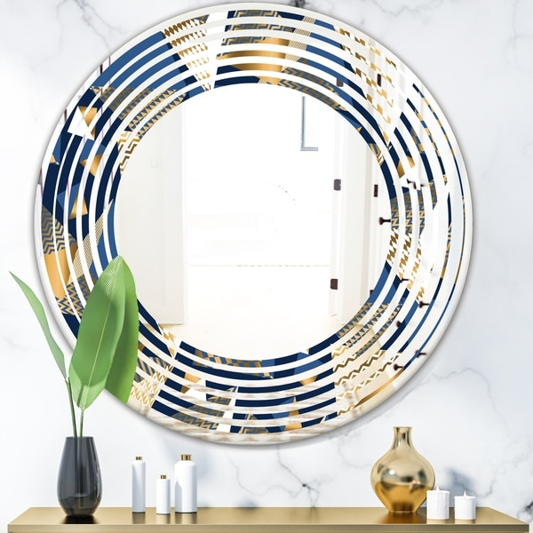 Designart 'Gold and Blue Cubes' Modern Round or Oval Wall Mirror - Wave