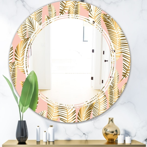 Designart 'Golden Palm Leaves I' Modern Round or Oval Wall Mirror - Triple C