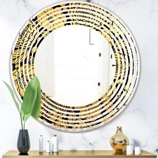 Designart 'Golden Floral II' Modern Round or Oval Wall Mirror - Wave