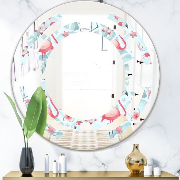 Designart 'Tropical Botanicals, Flowers and Flamingo III' Modern Round or Oval Wall Mirror - Space