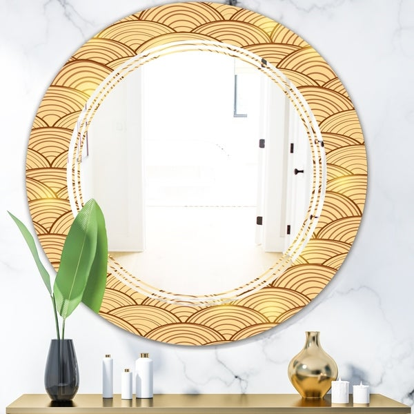 Designart 'Golden Clouds In The Sky' Modern Round or Oval Wall Mirror - Triple C