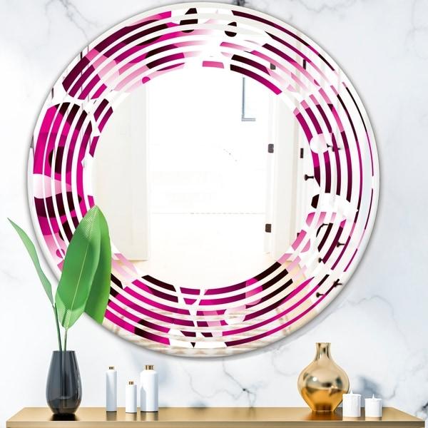 Designart 'Abstract Design Retro Pattern VI' Cottage Round or Oval Wall Mirror - Wave