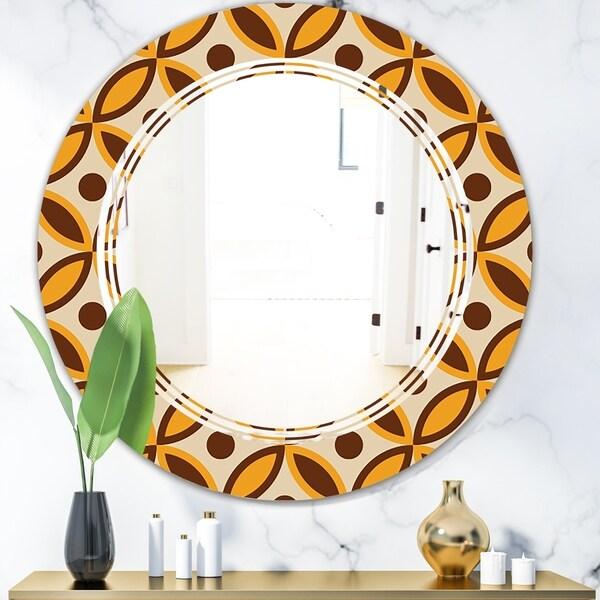Designart 'Retro Ornamental Design V' Modern Round or Oval Wall Mirror - Triple C