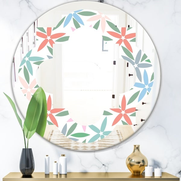 Designart 'Retro Abstract Flower Design III' Modern Round or Oval Wall Mirror - Quatrefoil