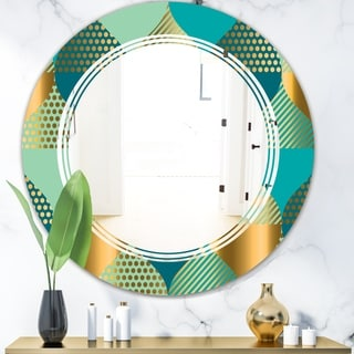 Designart 'Luxury Retro Drops II' Modern Round or Oval Wall Mirror - Triple C