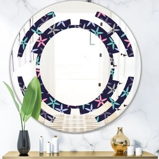 Designart 'Retro Abstract Flower Design V' Modern Round or Oval Wall Mirror - Space