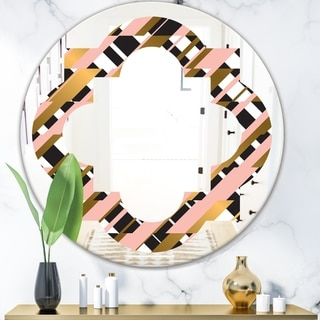 Designart 'Gold Checkered Pattern II' Modern Round or Oval Wall Mirror - Quatrefoil