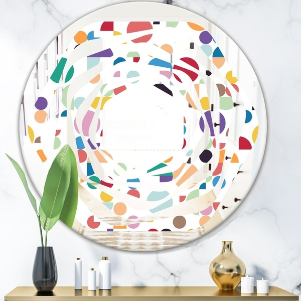 Designart 'Retro Abstract Circular I' Modern Round or Oval Wall Mirror - Whirl - Multi