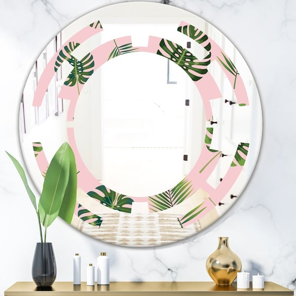 Designart 'Palm Tropical leaves pattern.' Modern Round or Oval Wall Mirror - Space