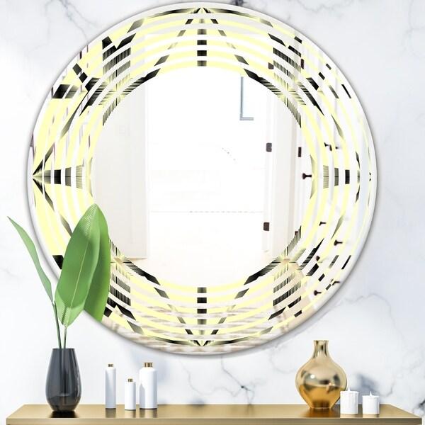 Designart 'Oriental Ornament. Flower Pattern' Modern Round or Oval Wall Mirror - Wave