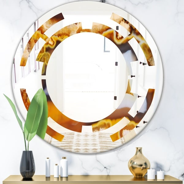 Designart 'Natural brown agate' Modern Round or Oval Wall Mirror - Space