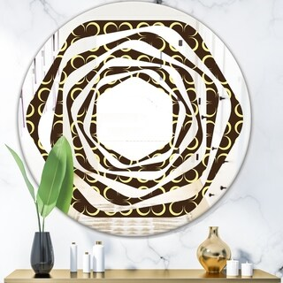 Designart 'Floral Retro Pattern II' Modern Round or Oval Wall Mirror - Whirl