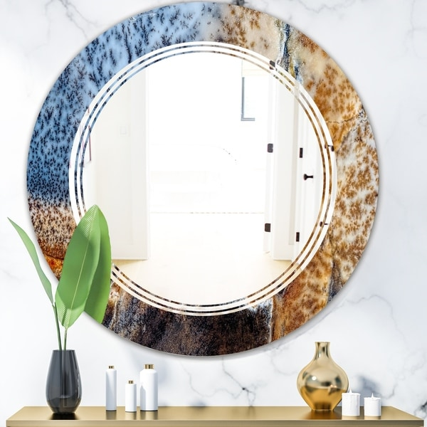 Designart 'China Moss Agate' Modern Round or Oval Wall Mirror - Triple C
