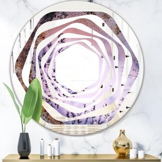Designart 'Crystal Dendrite macro' Modern Round or Oval Wall Mirror - Whirl