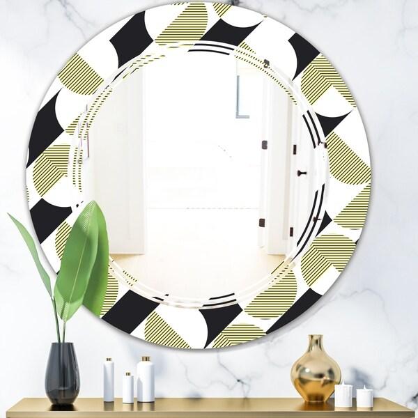 Designart 'Circular Abstract Retro Geometric II' Modern Round or Oval Wall Mirror - Triple C