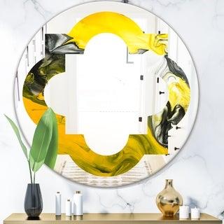 Designart 'Marbled Yellow 5' Modern Round or Oval Wall Mirror - Quatrefoil