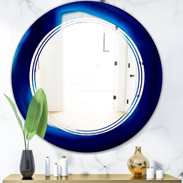 Designart 'Slice of blue agate crystal' Modern Round or Oval Wall Mirror - Triple C