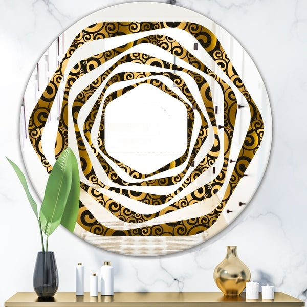 Designart 'Gold and Black Swirl I' Modern Round or Oval Wall Mirror - Whirl