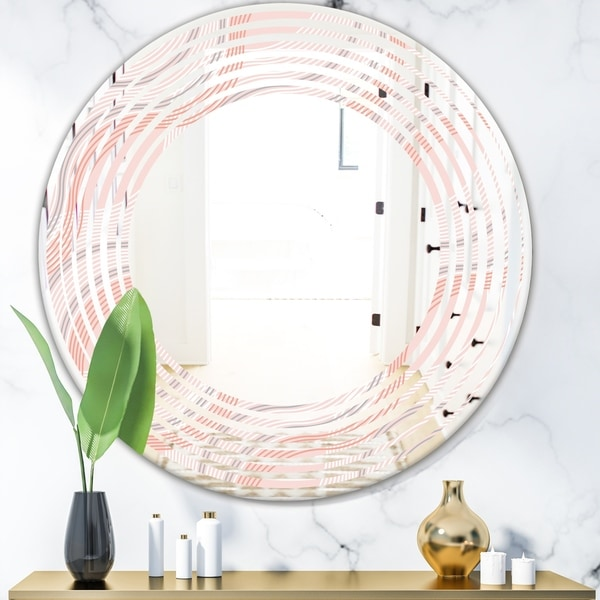 Designart 'Pink Elegant Pastel Waves' Modern Round or Oval Wall Mirror - Wave