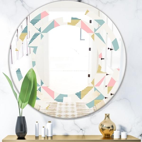 Designart 'Diamond Retro XI' Modern Round or Oval Wall Mirror - Space