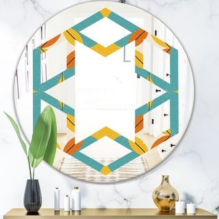 Designart 'Diamond Retro IV' Cottage Round or Oval Wall Mirror - Hexagon Star