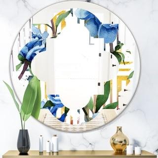 Designart 'Retro Floral Botanical Design I' Modern Round or Oval Wall Mirror - Quatrefoil